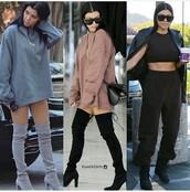 shoes,kourtney kardashian,knee high boots,thigh high boots,cute,stylish,boots,black heels,black boots,suede boots,grey boots,chunky heels,fashion,fashionista,kardashians