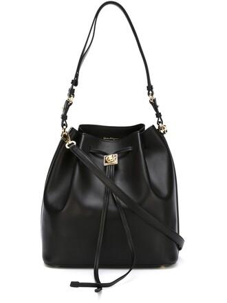 women drawstring bag shoulder bag black