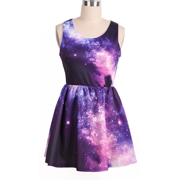 Purple Pink Sleeveless Galaxy Pattern Dress(Ships on 2/26) - Polyvore