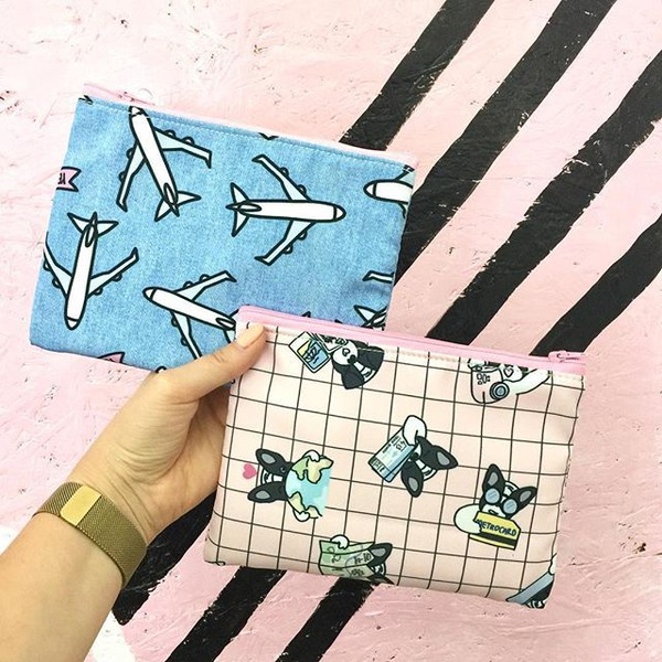 make-up yeah bunny pouch plane travel blue denim makeup bag bag