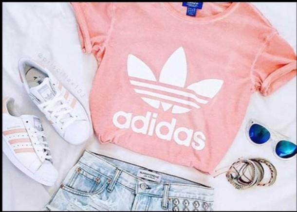t-shirt adidas shoes shirt pink crop tops shorts summer outfits outfit  adidas shoes adidas