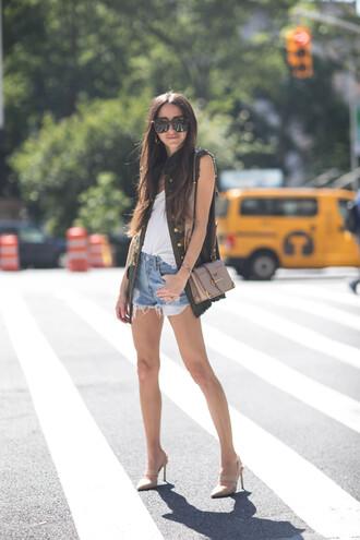 something navy blogger jacket tank top shorts bag shoes sunglasses