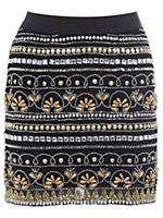 Embellished black mini skirt