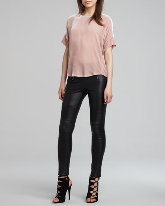 J Brand Ready to Wear Daisy Loose Velvet Blouse & Emmi Skinny Leather Pants - Neiman Marcus