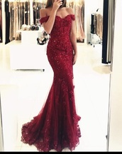 dress,red dress,prom dress,shiny dress,bodycon dress,long dress,off the shoulder,burgundy dress,burgundy,red,lace,mermaid prom dress