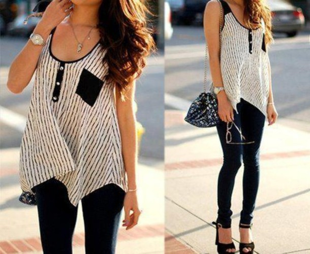 tank top stripes blouse t-shirt shoes shirt top black white high heels bag fashion stylish jeans beautiful watch summer summer outfits stripes black and white with girly lines black and white t-shirt heels black pants tumblr outfit girl style black and white clothes sporty