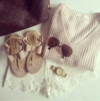 shorts shoes sweater sandles sandals sunglasses watch louis vuitton bag beige nude strappy