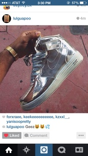 shoes,silver air force high tops,silver,sneakers