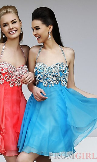 Short Beaded Halter Dress, Sherri Hill Halter Top Dress- PromGirl