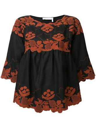 blouse folk embroidered women black top