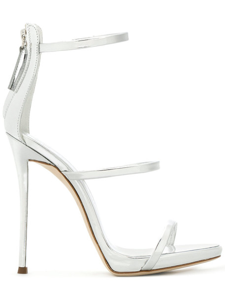 GIUSEPPE ZANOTTI DESIGN women sandals leather grey metallic shoes