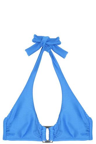 bikini bikini top halter bikini blue swimwear