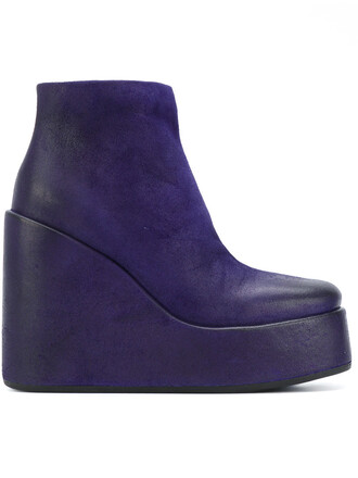 wedge boots women boots leather blue shoes