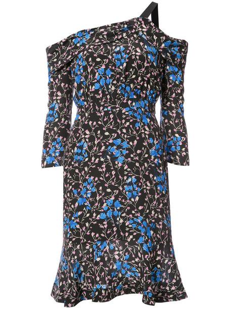 Saloni dress printed dress women black silk