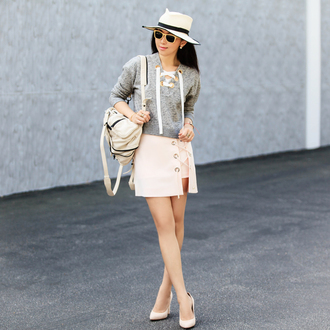 skirt lace up skirt pink skirt mini skirt sweater grey sweater lace up jumper backpack pumps high heel pumps hat straw hat sunglasses fit fab fun mom blogger blouse