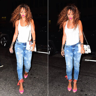 jeans sandals skinny jeans rihanna top shoes