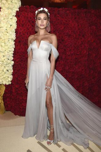 shoes dress gown prom dress wedding dress bustier dress hailey baldwin model off-duty slit dress long dress met gala met gala 2018 sandals