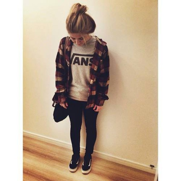 shoes vans flannel jeans bag shirt blouse underwear
