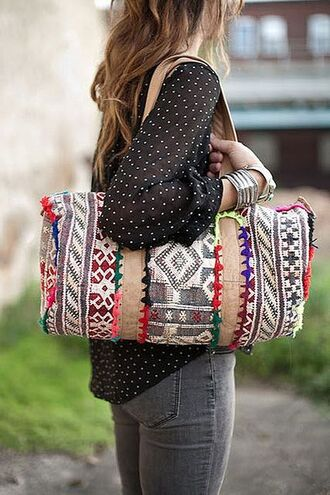 bag boho bohemian embroidered