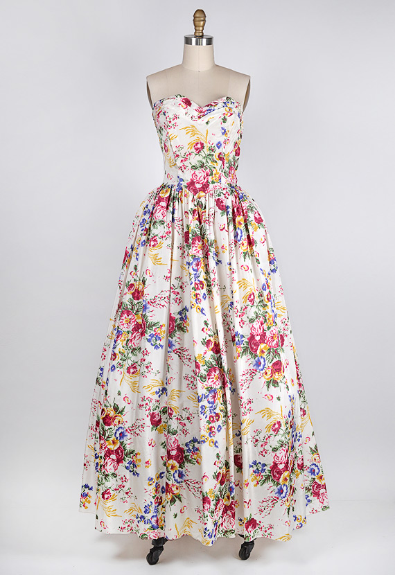 1950s white silk floral ball gown [Rococo Garden Ball Gown ...
