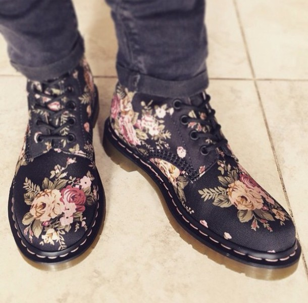 shoes floral boots DrMartens