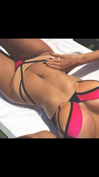 swimwear bikini matching set nude stripes summer