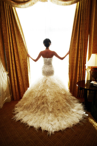 dress feathers wedding dress mermaid wedding dresses sequins