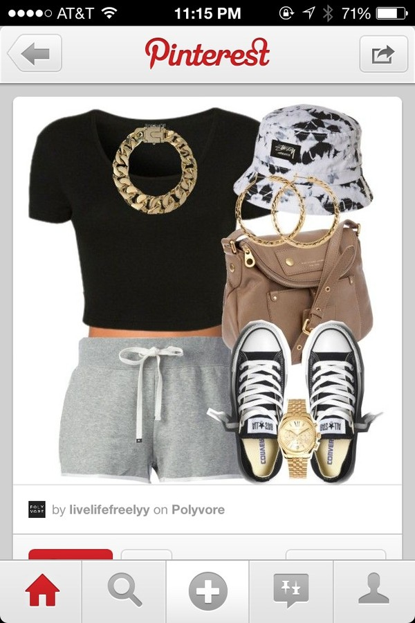 hat bucket hat grey shorts outfit so cute!!! comfy shoes jewels shirt shorts