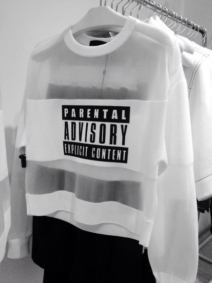 white sweater blouse parental advisory explicit content see through crewneck shirt white long sleeves