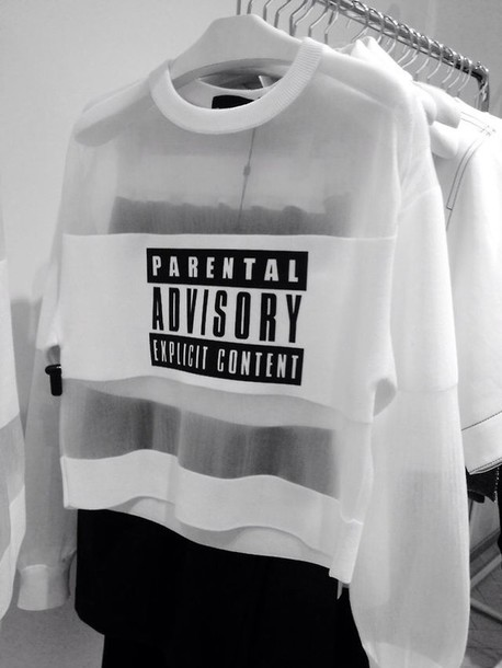 blouse white parental advisory explicit content long sleeves see through shirt sweater sheer parental advisory explicit content mesh white sweater crewneck clear black and white hoodie hoodie coat white hoodie black hoodie cleaer hoodie black letters black lettering parentaladvisoryexplicitcontent advisory parental black and white black cool pullover transparent hipster explicit content see through sweater mesh khloe kardashian t-shirt pale pale grunge dark grunge kawaii grunge cute soft grunge top white top
