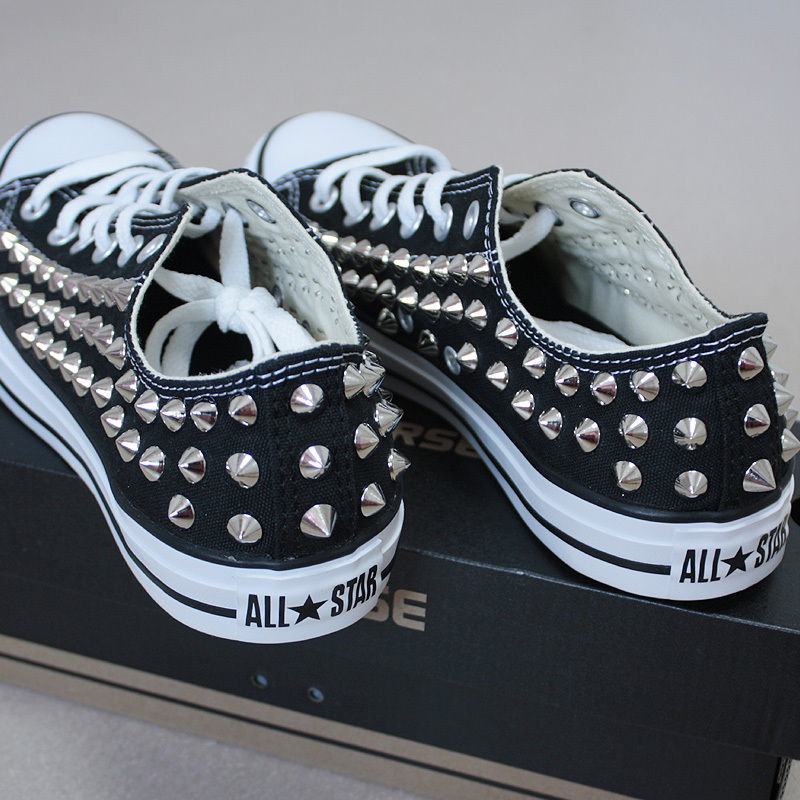 Genuine Converse All Star Row Top with Studs Sneakers Sheos Black | eBay