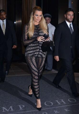 dress bodycon dress lace dress maxi dress khloe kardashian pumps purse see through shoes