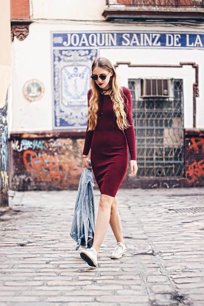 5374132ceda2 dress tumblr fall dress fall outfits burgundy burgundy dress midi dress  long sleeve dress sneakers white