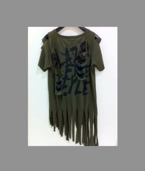 fringes t-shirt military