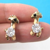 jewels,earrings,giraffe,diamonds,gold