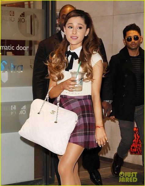 Skirt Celeb Ariana Grande Skaterskirt Winter Outfits Fall London Cute Girly