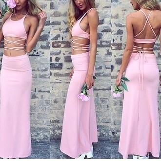 dress pretty pink dress summer dress two-piece