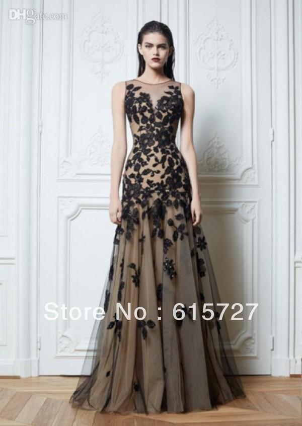 2014 sexy zuhair murad rundhals ballkleider spitze schwarzem tüll Akt farbe chiffon boden  Länge abendkleider