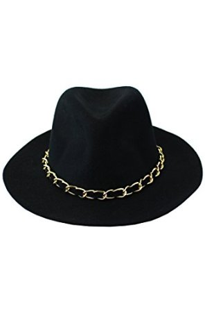 Amazon.com: gk collection women's 100% wool custom made fashion fedora with black and gold chain one size black: clothing