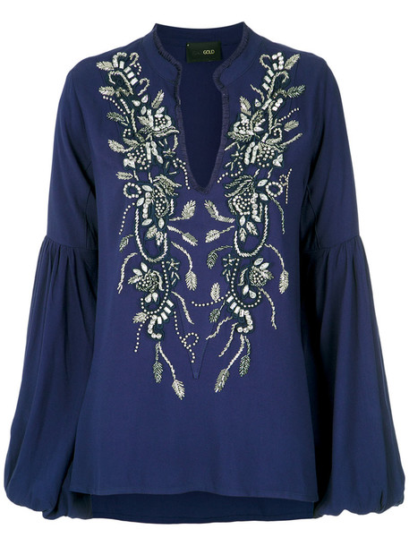 blouse long embroidered women blue top
