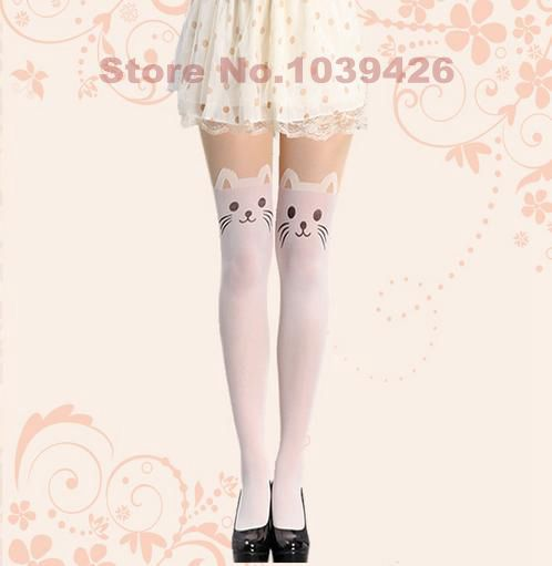 sexy woman white solid animal kitty print tights, women mock transparent multi patterned high stocking Character pantyhose-in Tights from Apparel & Accessories on Aliexpress.com | Alibaba Group