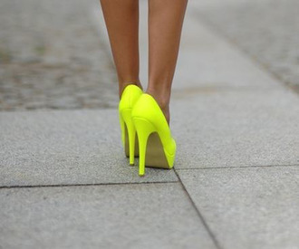 neon yellow shoes shoes high heels neon neon yellow heels yellow platform high heels