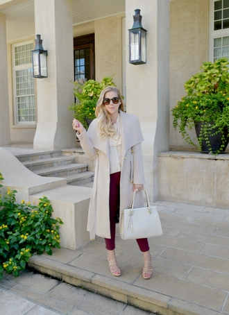 fash boulevard blogger coat top pants shoes bag classy beige