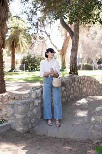 pants sunglasses bag shoes calivintage blogger blouse sandals white blouse spring outfits