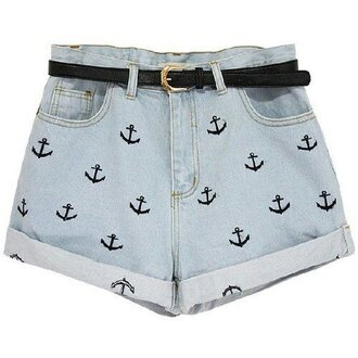 shorts nautical belt blue black anchor tumblr denim denim shorts