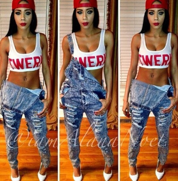jeans dungaree crop tops hat t-shirt shirt jumpsuit beautiful jean-ripped/overalls red and white red lipstick snapback denim overalls ripped jeans distressed denim twerk shoes top crop tops tank top