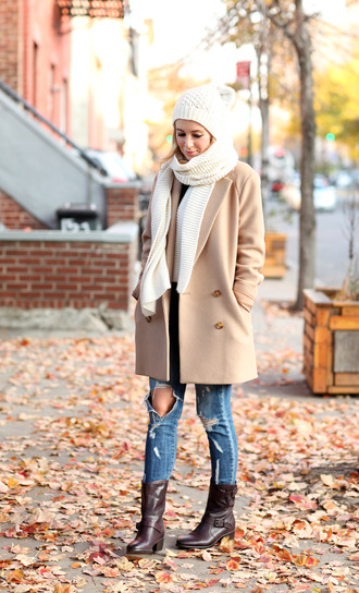 brooklyn blonde blogger shoes coat jeans hat scarf ripped jeans camel coat