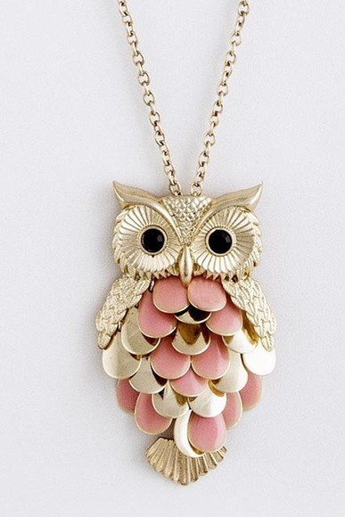 jewels necklaces owls pink and gold chain fashion