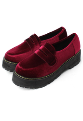 shoes,glossy,velvet,creeper,loafers,red