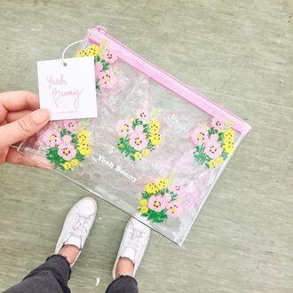 make-up yeah bunny bag transparent floral flowers